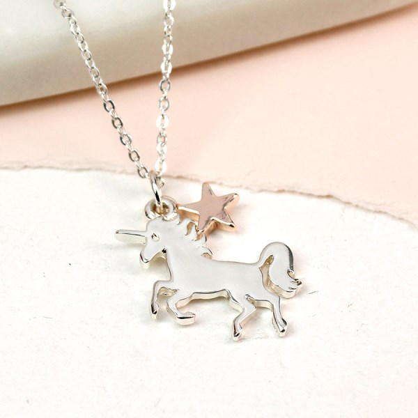 Silver plated unicorn necklace with a rose gold star charm | Image 1
