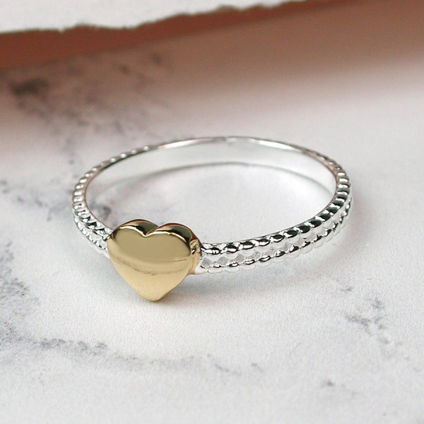 Sterling silver decorative ring with gold plated heart | Image 1