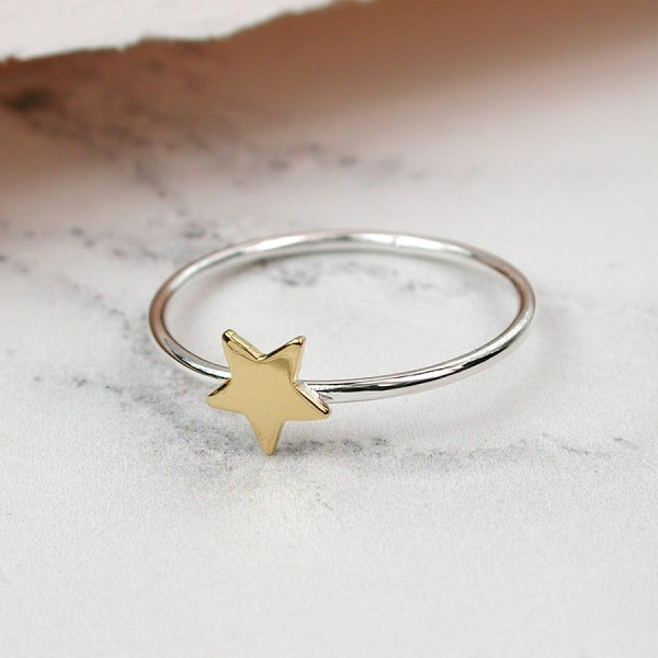 Sterling silver fine band ring with a gold plated star | Image 1