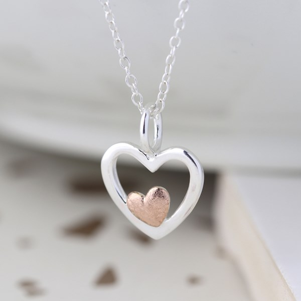 Sterling silver and rose gold nested hearts necklace | Image 1