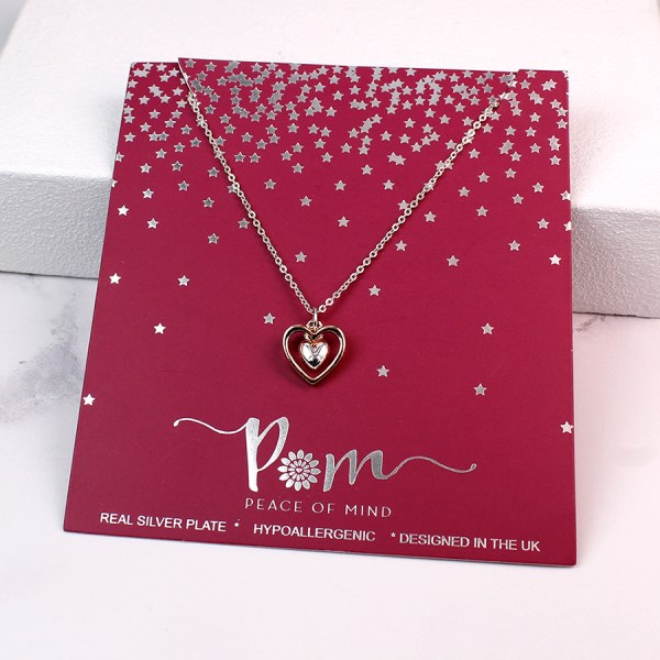 Silver and rose gold plated double heart necklace | Image 1