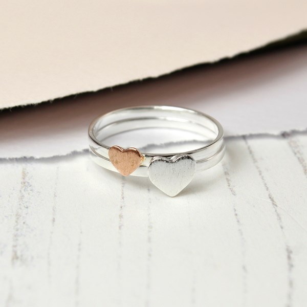Silver and rose gold double hearts ring set | Image 1