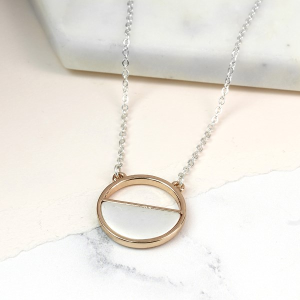 Silver and rose gold plated half circle necklace | Image 1