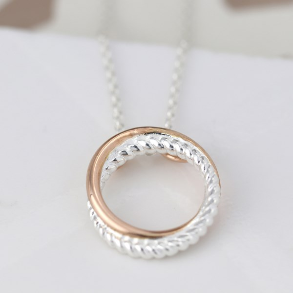 Sterling silver twist and rose gold linked hoop necklace | Image 1