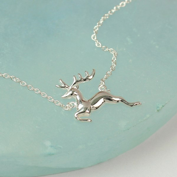 Sterling silver running stag necklace on a split chain | Image 1
