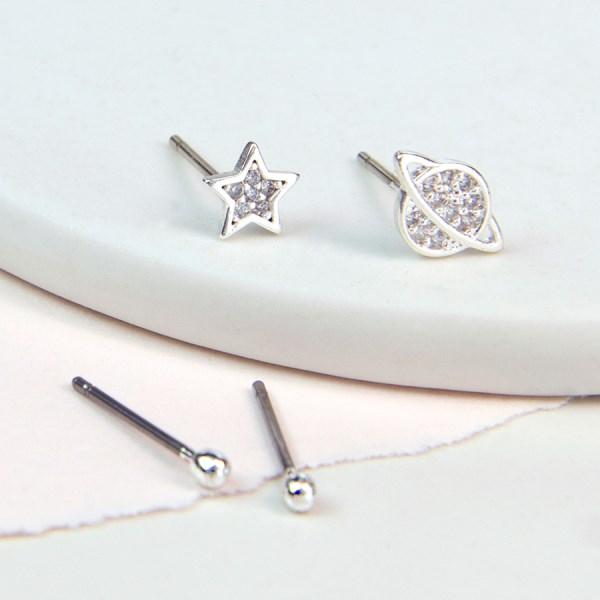 Silver plated saturn and star stud earring set with crystal | Image 1