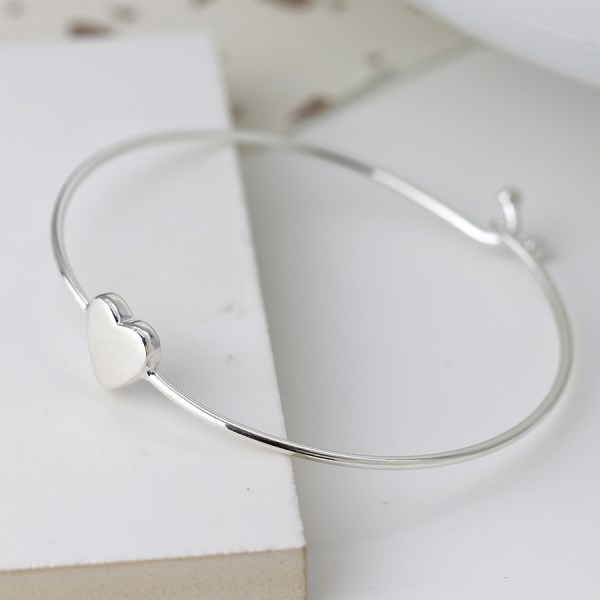 Sterling silver heart bangle with twist link clasp | Image 1