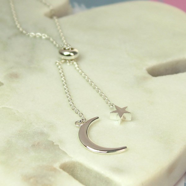 Sterling silver moon and star double drop necklace | Image 1
