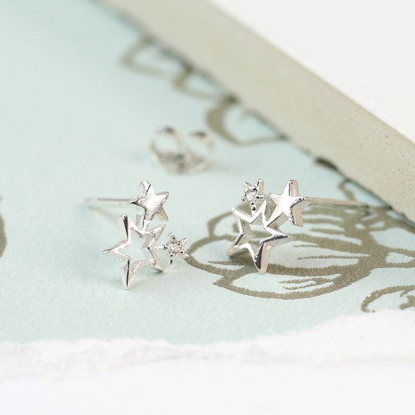 Sterling silver triple star cluster and crystal earrings | Image 1