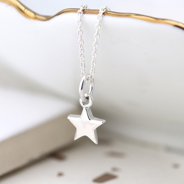 Sterling silver little star pendant on a fine silver chain | Image 1