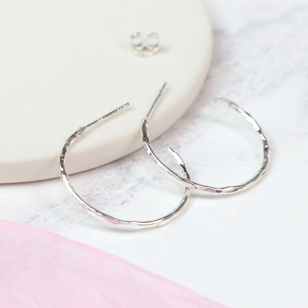 Sterling silver textured open hoop stud earrings | Image 1