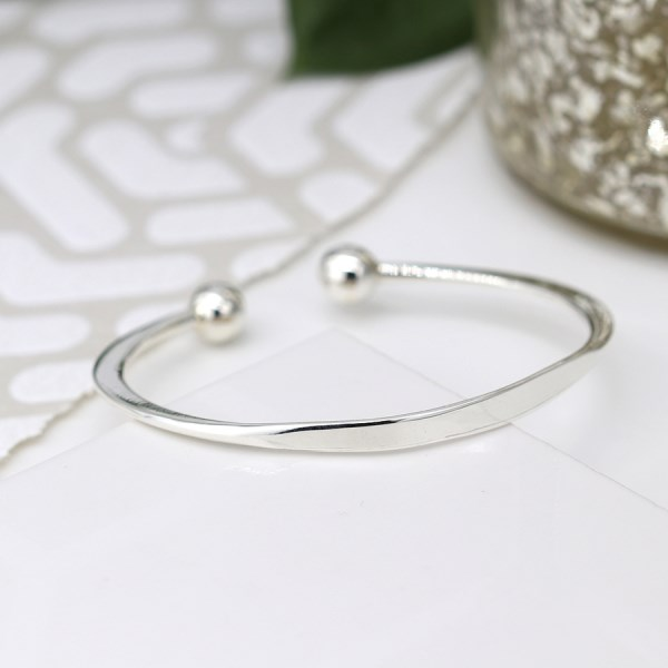 Sterling silver torq bangle with knife edge design | Image 1