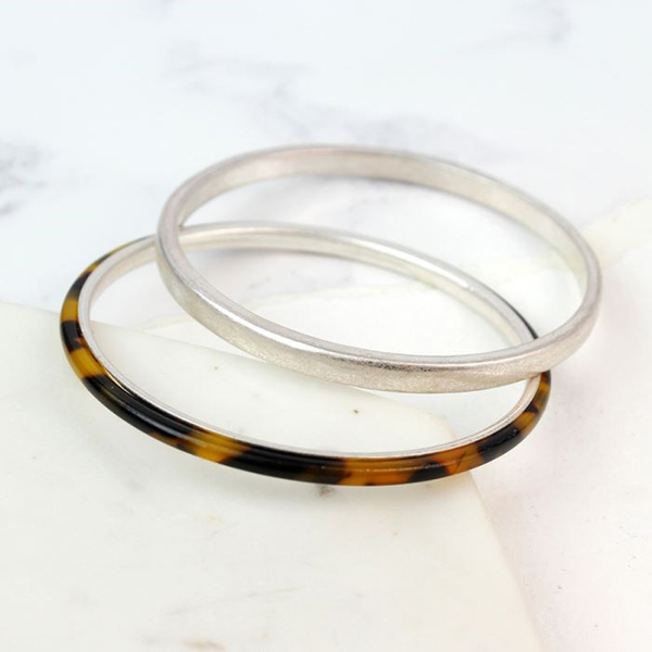 Silver plated and tortoise shell double bangle set | Image 1
