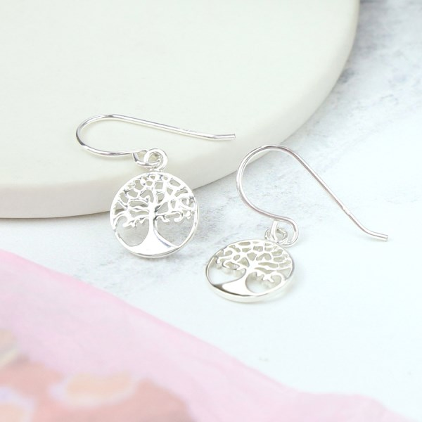 Sterling silver circle and tree of life drop earrings | Image 1