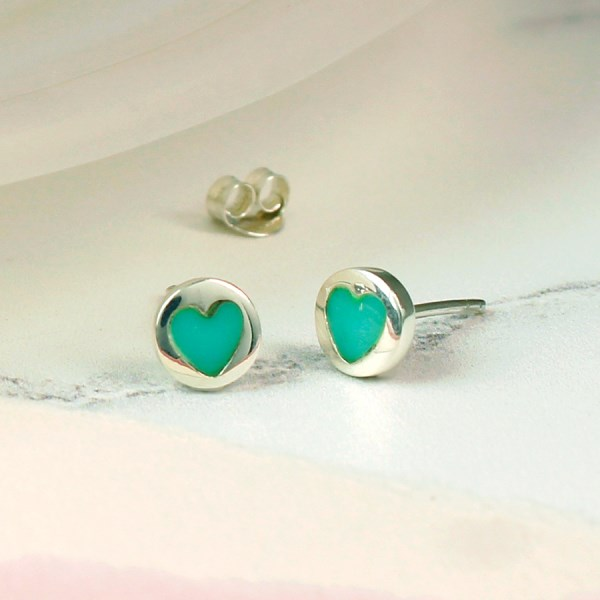 Sterling silver and turquoise heart stud earrings | Image 1