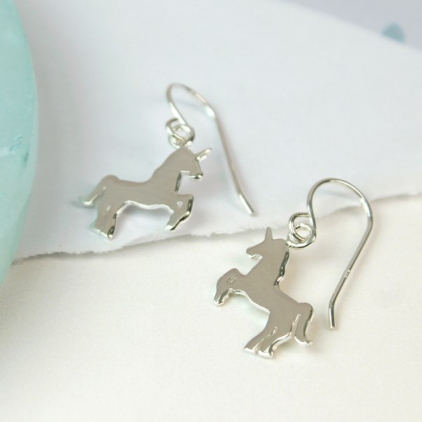 Sterling silver dancing unicorn drop earrings | Image 1