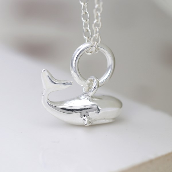 Sterling silver whale pendant on a fine silver chain | Image 1