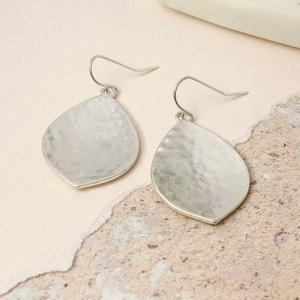 Silver wide leaf earrings with hammered finish | Image 1