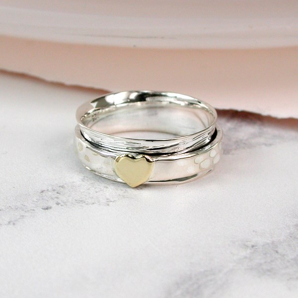 Sterling silver and brass heart spinning ring | Image 1