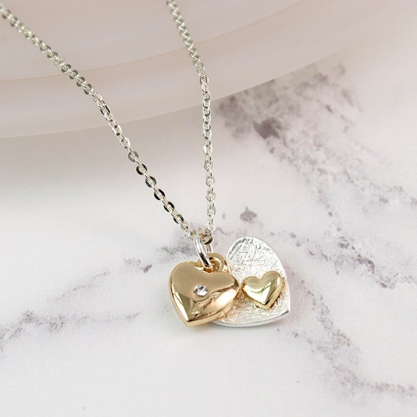 Silver and gold plated double heart charm necklace | Image 1
