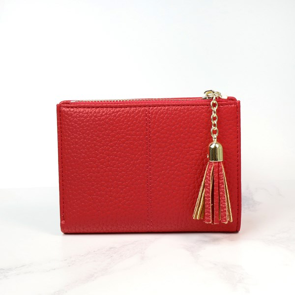 Compact red faux leather zip purse with tassel | Image 1