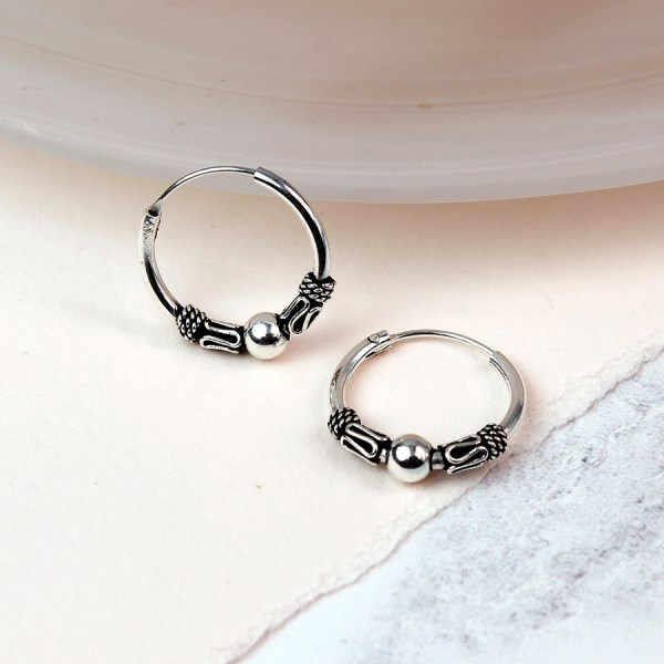 Sterling silver small decorative hoop earrings | Image 1
