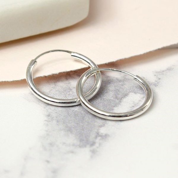 Classic sterling silver fine hoop earrings - small | Image 1