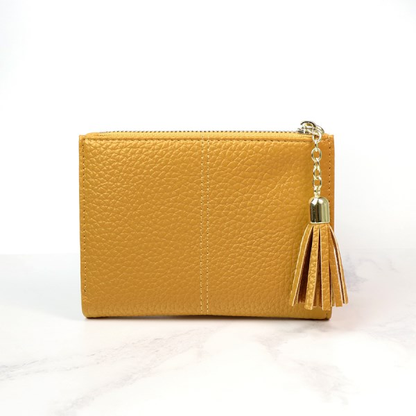 Compact mustard faux leather zip purse with tassel | Image 1