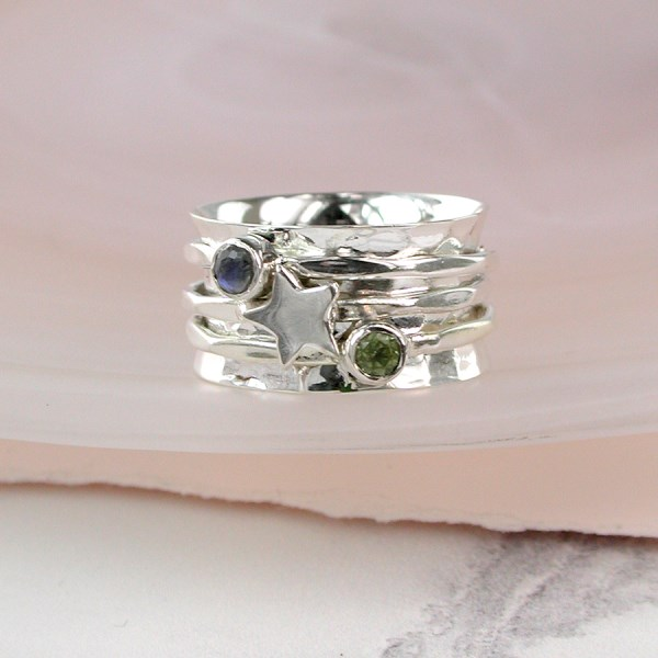Sterling silver gemstone and star spinning ring | Image 1