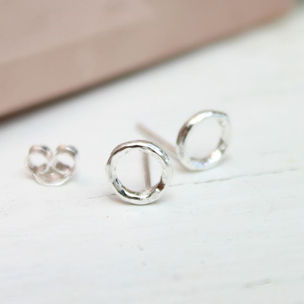 Sterling silver textured circle stud earrings | Image 1