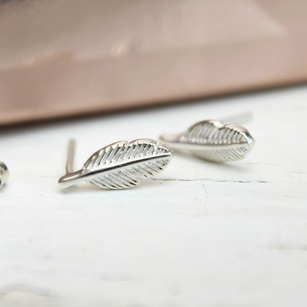 Sterling silver feather stud earrings | Image 1