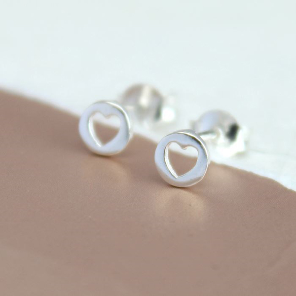 Sterling silver cut-out heart stud earrings | Image 1