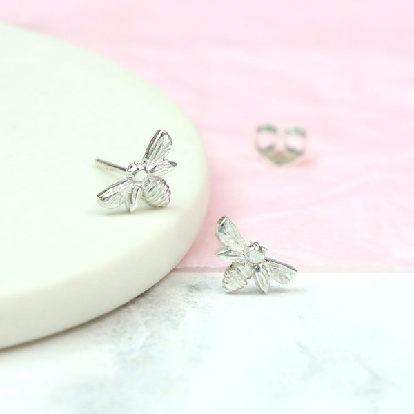 Sterling silver little bee stud earrings | Image 1