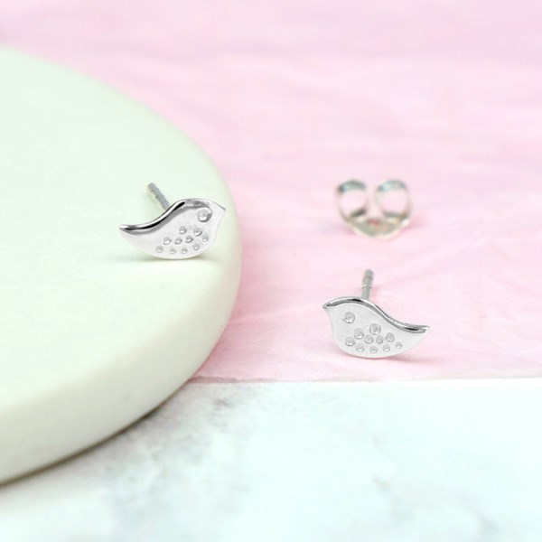 Sterling silver little bird stud earrings with stamped detail | Image 1