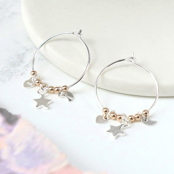 Sterling silver fine hoop earrings with charms and beads | Image 1