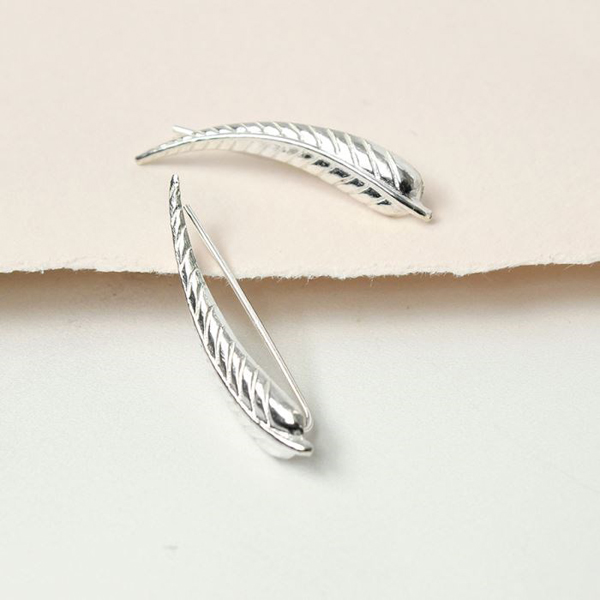 Sterling silver curved feather earlines | Image 1
