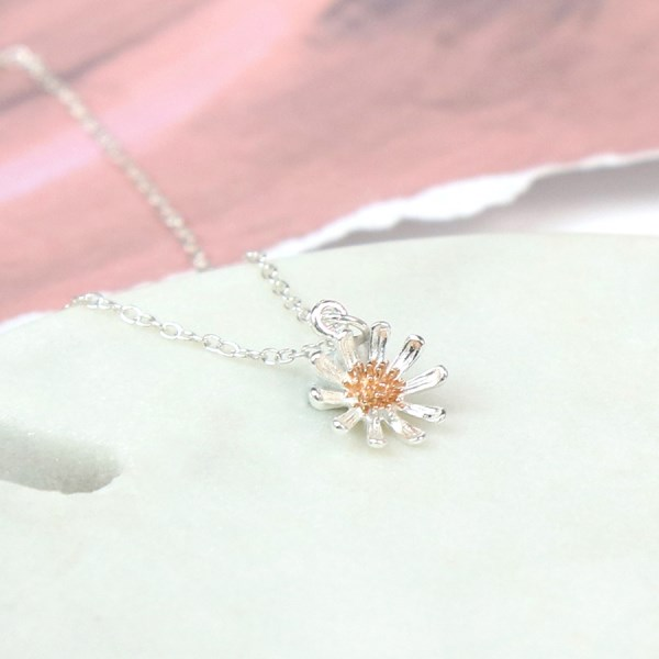 Sterling silver daisy necklace with real rose gold detailing | Image 1