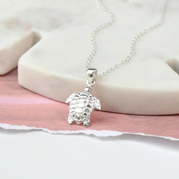 Sterling silver sea turtle necklace with fine silver chain | Image 1