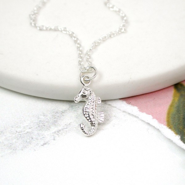 Sterling silver seahorse necklace with a silver chain | Image 1