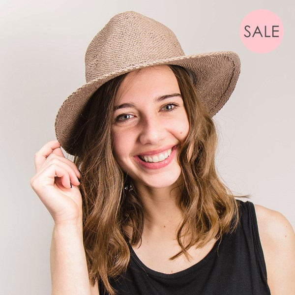 Taupe paper hat with fine plaited band | Image 1