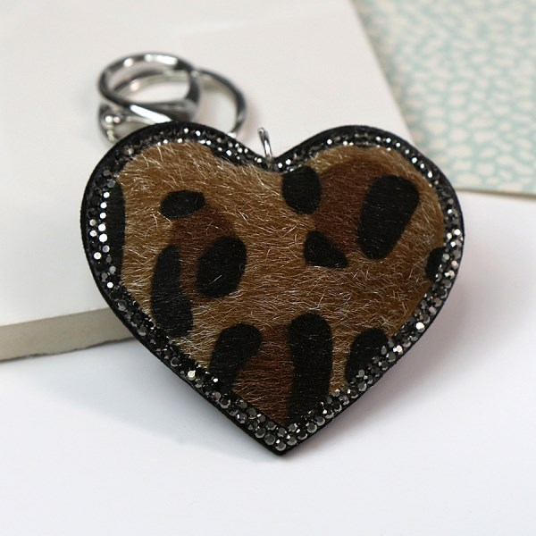 Animal print and crystal heart shaped keyring in camel | Image 1