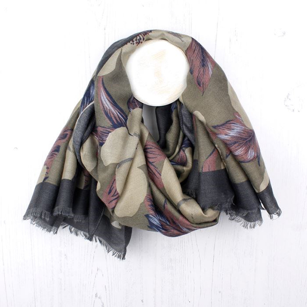 Taupe mix scarf with floral print in mauve and khaki | Image 1