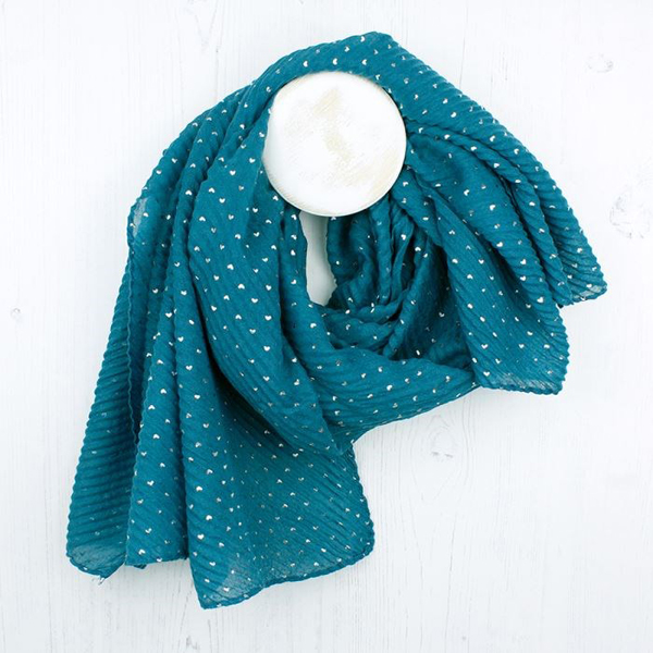 Teal crinkle scarf with metallic silver heart print | Image 1