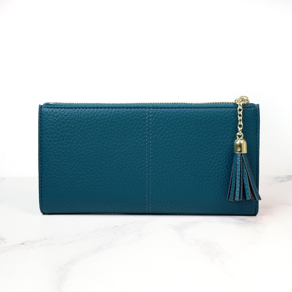 Large teal faux leather zip purse with tassel | Image 1