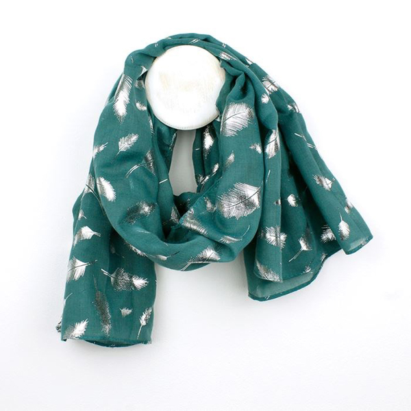 Petrol green scarf with metallic silver feather print | Image 1