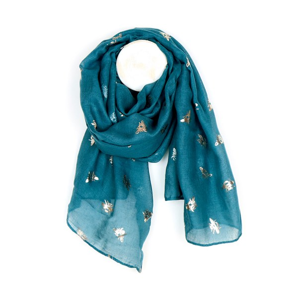 Teal blue scarf with metallic rose gold bee print | Image 1