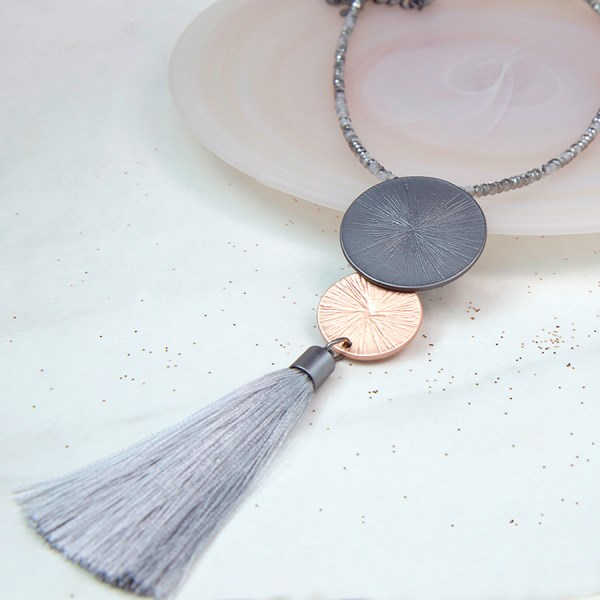 Double disc metallic necklace with long grey tassel | Image 1