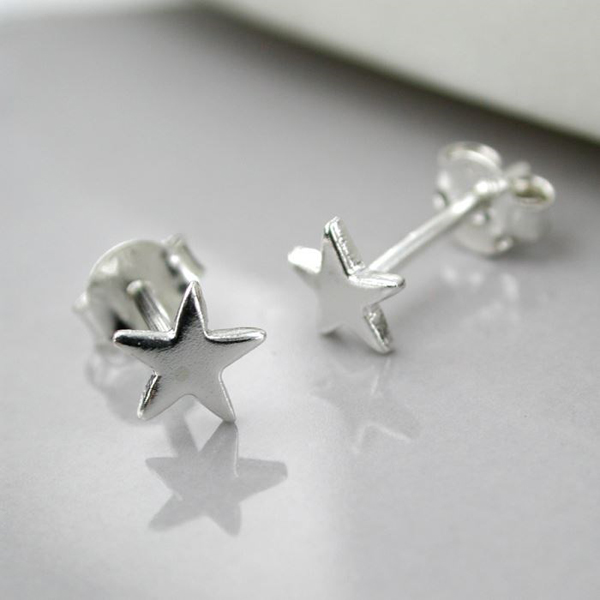 Sterling silver small star stud earrings | Image 1