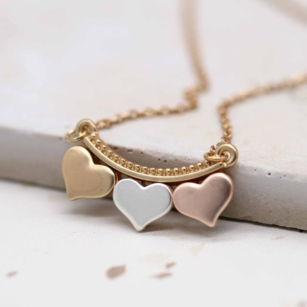 Silver, gold and rose gold triple hearts necklace | Image 1