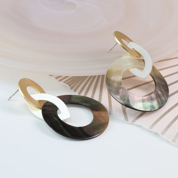 Shell, silver and gold plated linked hoop earrings | Image 1
